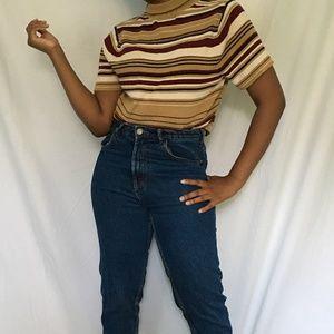 Striped Short Sleeve Turtleneck